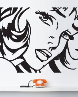 pop art girl wall sticker