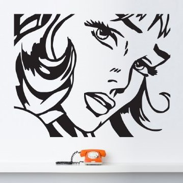 pop art girl wall sticker