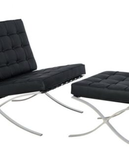 Black Barcelona Chair and Footstool 2