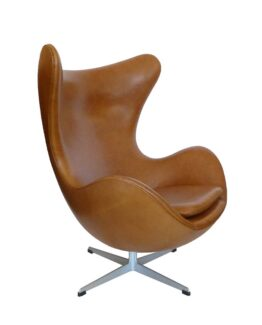 Egg Chair Tan Brown Leather