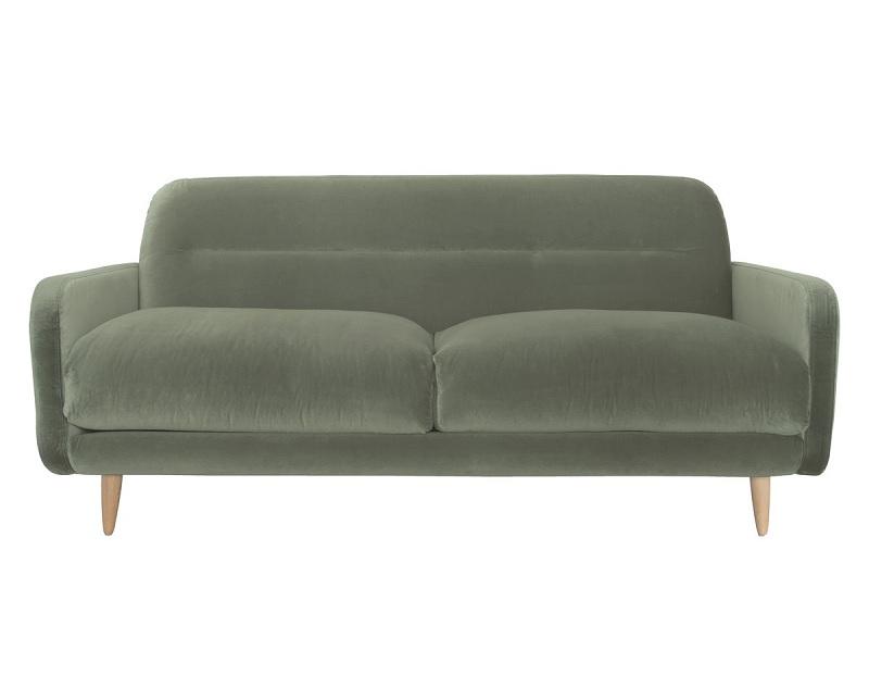 Abel sage green velvet sofa