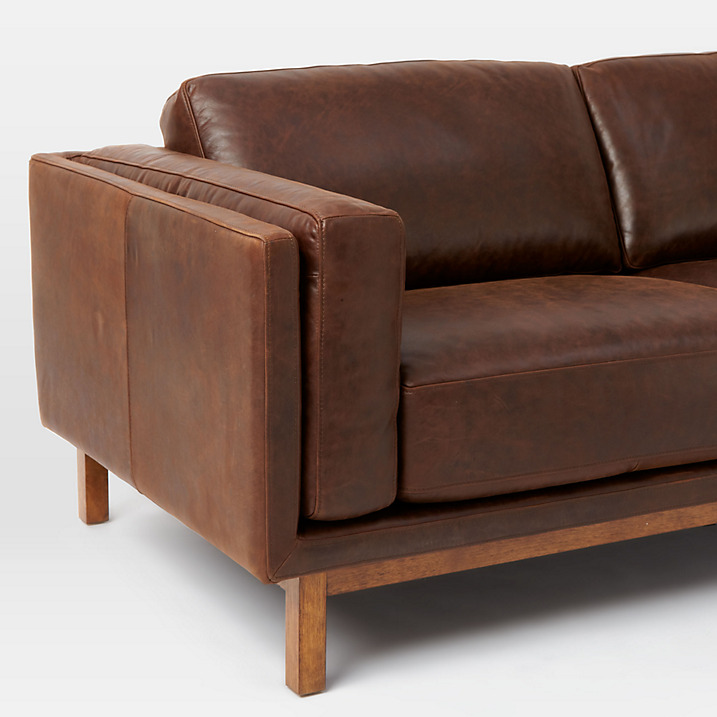 West elm dekalb aniline leather sofa for Best west elm sofa
