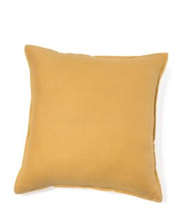 Yellow Washed Linen Cushion Cover