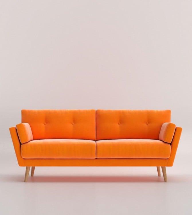 sala orange velvet 3 seatersala orange velvet 3 steater