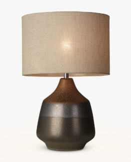 Delaney Metallic Glaze Ceramic Table Lamp, Bronze