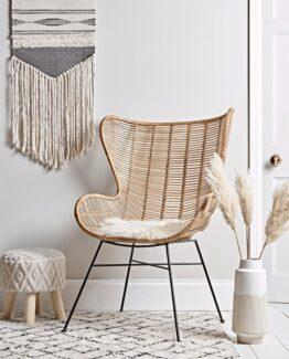 Flat Rattan Wing Chair