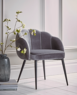 Grey Scalloped Velvet Chair