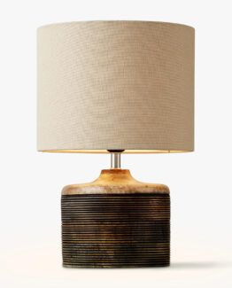 Ira Ribbed Wooden Table Lamp