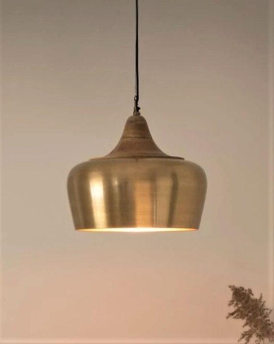 Mango Wood and Gold Metal Pendant