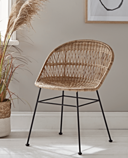 Rounded Wicker Dining Chair