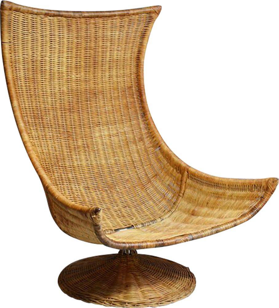 mid century rattan swivel chair