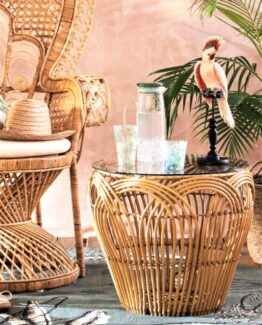 Gili Glass and Faux Rattan Table