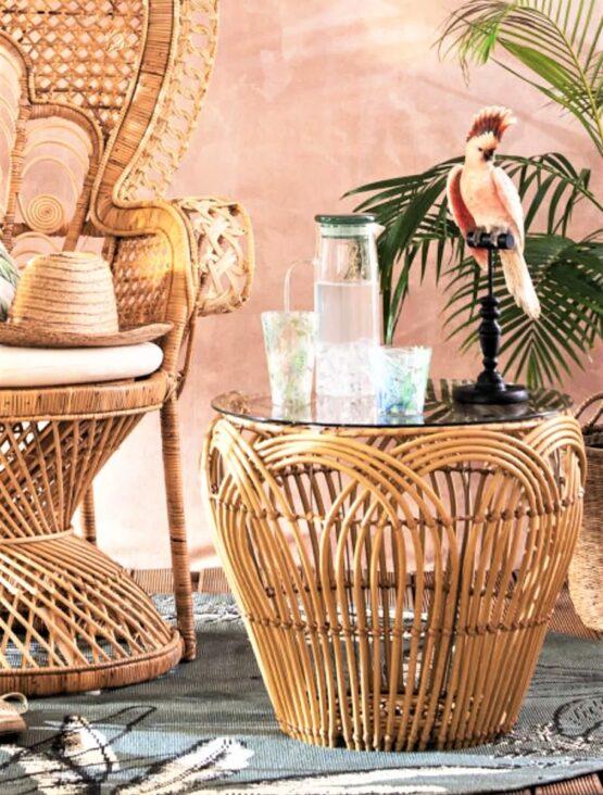 Gili Glass and Faux Rattan Table