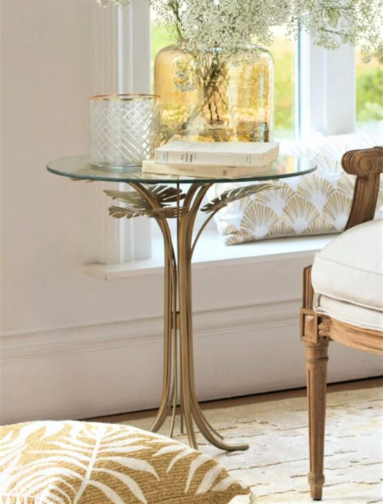 Guarana Gold and Glass Side Table