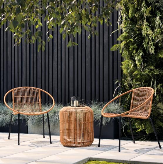 Tara Rattan Table and 2 Chair Set