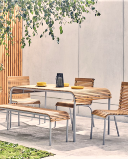 Rolio Acacia Wood Garden Table, Bench and 4 Chairs