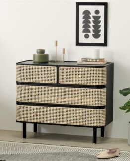 Ankhara Rattan and Black Oak Drawers