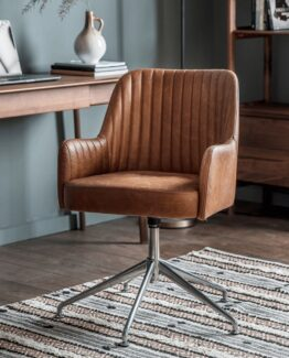 Fluted Leather Swivel Chair