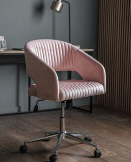 Fluted Velvet Office Chair