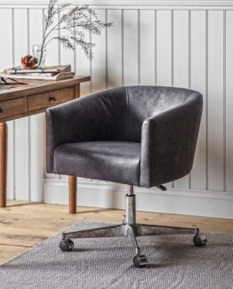 Leather Wheeled Tub Chair