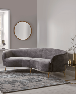 Deep Grey Velvet Curved Sofa