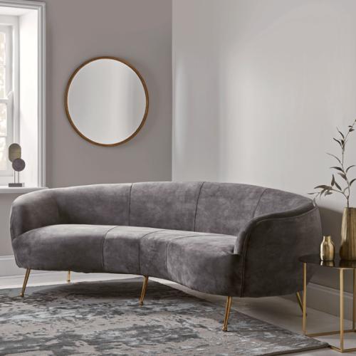 Deep Grey Velvet Curved Sofa
