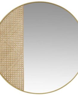 Anzara Canework and Gold Metal Mirror