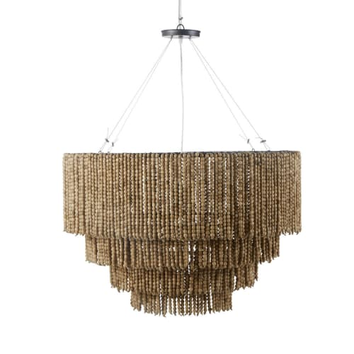 Beads Pendant light with Hand-Assembled Pine Beads