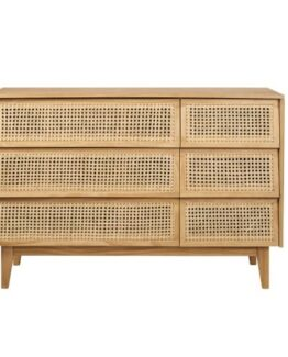 Double Dresser with 6 Canework Drawers