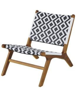 Professional Black and White Woven Resin and Solid Acacia Armchair