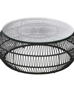 Round Garden Coffee Table in Black Resin and Glass