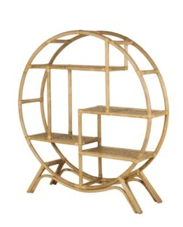 Round Shelving Unit in Bamboo Canework