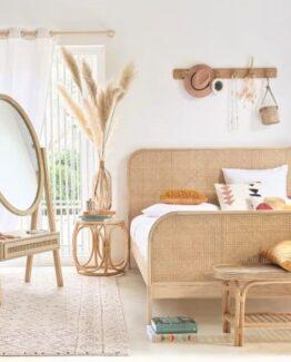 Vintage rattan and solid oak bed