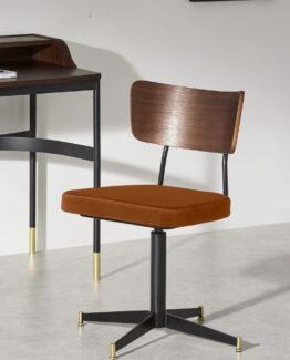 Amalyn Rust Velvet Office Chair
