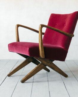 Axel Raspberry Velvet Armchair