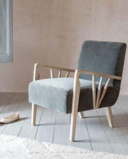 Braun Velvet Armchair