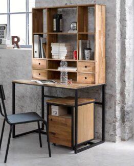 Hiba Oak and Metal Desk