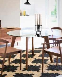 Kristal Walnut and Glass Dining Table