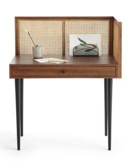 Noya Vintage Desk with Rattan Panels